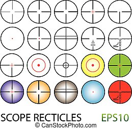 crosshairs set including colour reticles and night vision -...