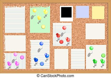 Illustration of Corkboard with paper notes, memo stickers...