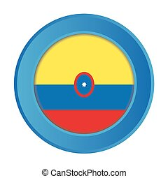3D Button with the Flag of Colombia