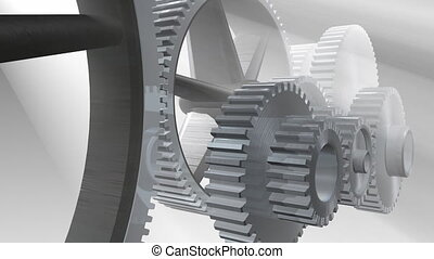 Gears interlocking with eachother - HD Animation of Gears...