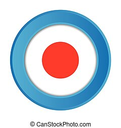 3D Button with the Flag of Japan
