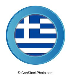 3D Button with the Flag of Greece