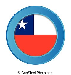 3D Button with the Flag of Chile