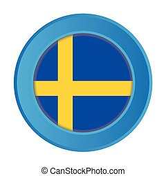 3D Button with the Flag of Sweden