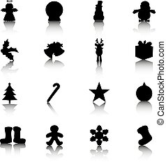 Silhouettes of Christmas related items with reflection