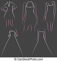 illustration set of various beautiful model women in dresses