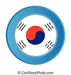 3D Button with the Flag of South Korea