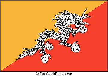 Illustration of the flag of Bhutan - An Illustration of the...