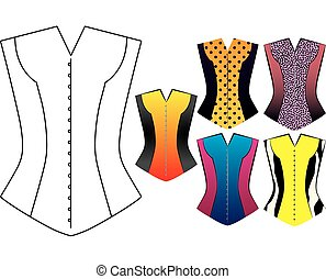Vintage corsets isolated on white - Illustrated Vintage...