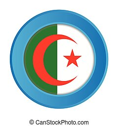 3D Button with the Flag of Algeria