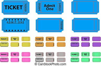 Various tickets set in different colours
