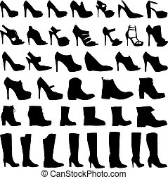Illustration of Womens shoes and boots icon set - An...
