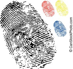 black isolated fingerprint with other colours - black...