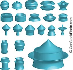Illustration of various 3d shapes on white background - An...