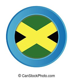 3D Button with the Flag of Jamaica
