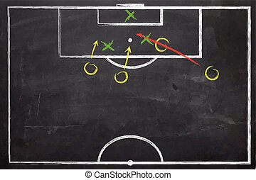 Close up of a black dirty chalkboard - Football -...