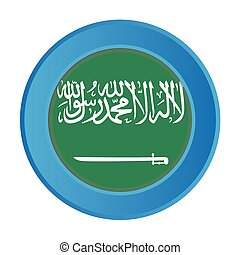 3D Button with the Flag of Saudi Arabia