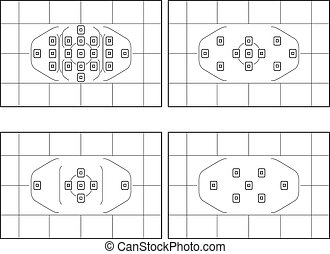 Illustrated Video Camera Viewfinder Displays on White...