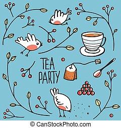 jardim, chá, Partido, com, Pássaros, ramos, e,...