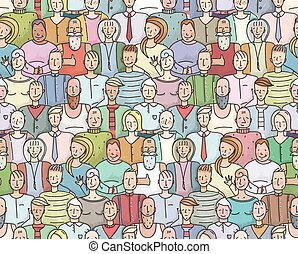 Smiling People Crowd Collective Portrait Seamless Pattern -...
