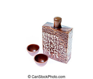 Soju decanter with two glasses - Decanter for Korean soju...
