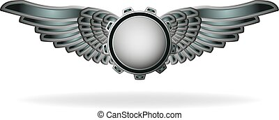 Steampunk style abstract emblem with gear and wings. -...