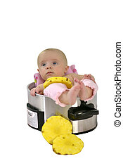 Baby girl in saucepan - 6 month baby girl lying in a...