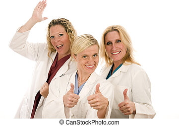 three nurses medical females with serious expression - group...