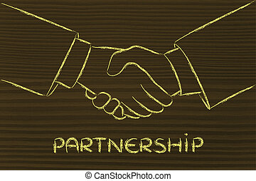 shaking hands, partnership and deals - hands shaking...