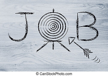 target role, job with target and arrow - finding a role, job...