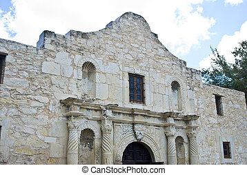 the alamo - an angled view of the front facade of the alamo...