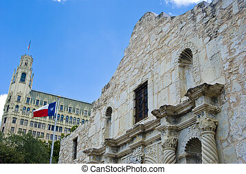 Alamo with flag - a view of the Alamo with the Texas flag...