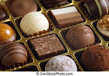 Chocolates in a box - A small assortment of chocolate...