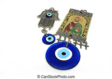 Eye Amulet - Human Eye amulet with icon and israel hamsa...