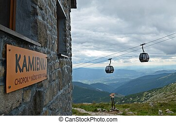 cable car in low tatras - cable car and chalet in the Low...