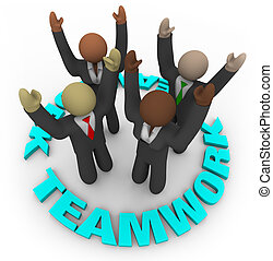 Teamwork - Team Members in Circle - Four diverse team...