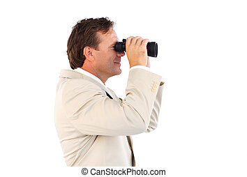 Male business manager with binoculars