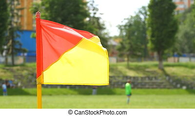 Soccer corner flag waving on the wind