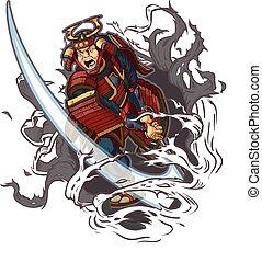 samurai, ridurre, attraverso, fondo,