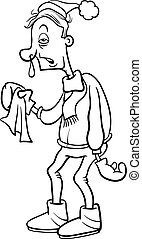 man with flu cartoon coloring page - Black and White Cartoon...