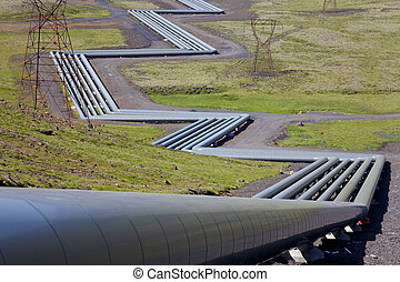 Huge Industrial Pipes at a Geothermal Power Station in Iceland