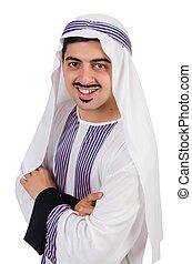 divertido, árabe, hombre, aislado, en, el, blanco,