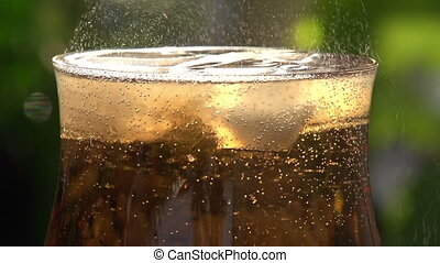 Movement of Bubbles in Sparkling Wi - Glass filled to the...