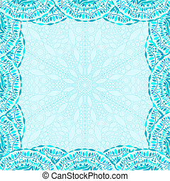 Invitation Card with Lace Frame - Cyan Invitation Card with...