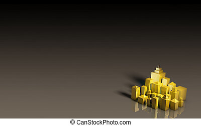 Golden Expensive Property Real Estate in 3D