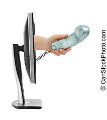 komputer, ekran, i, Ręka, Z, Telefon,
