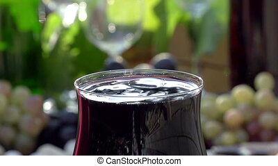 Drops of Red Wine Close-up - Glass of red wine close-up on a...