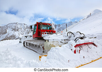 Machine for skiing slope preparations at Kaprun Austria -...