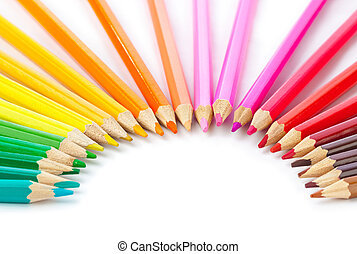 Multicolored pencils - Macro of multicolored pencils -...