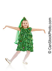 Girl in Christmas tree costume - Funny 7 years old girl in...